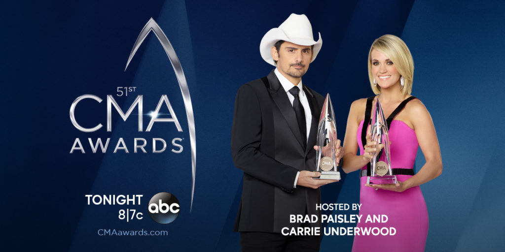 Brad Paisley and Carrie Underwood host tonight's 51st Annual CMA Awards