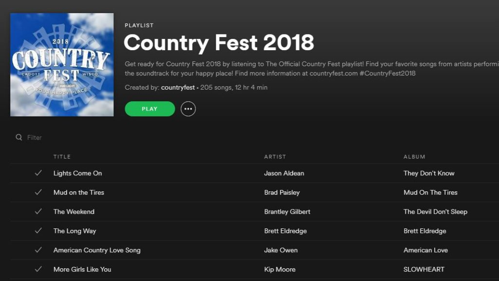 Country Fest 2018 Spotify Playlist screenshot